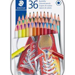 Akvarell/Teckna/Måla - Färgblyertspenna i Metallask 36st