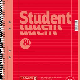 Block/Papper - Kollegieblock A4 Student Linjerat Rött